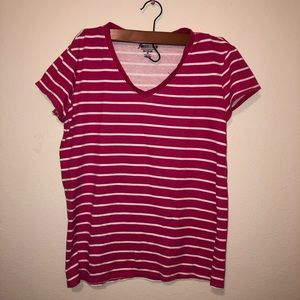 Old Navy Pink & White Striped T-Shirt